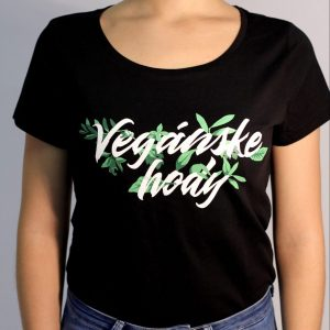 Dámske tričko - Vegánske hody čierne